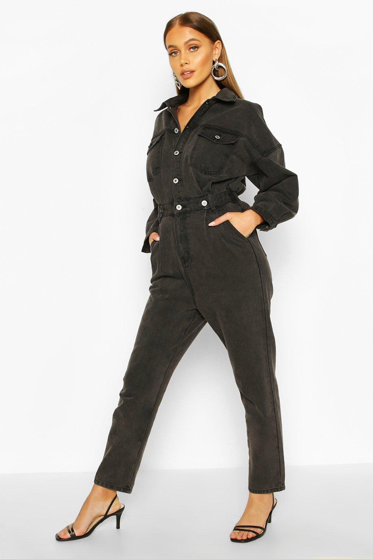boohoo Womens Waist Detail Denim Boilersuit - Black - 16, Black