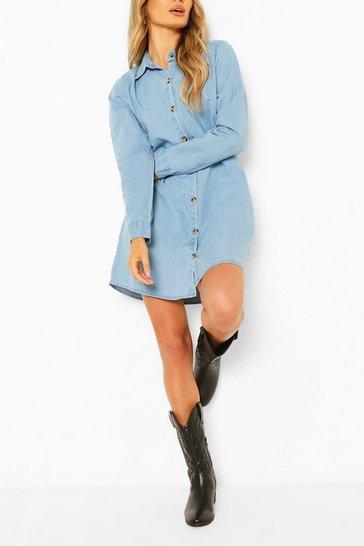 Light blue Light Weight Oversized Denim Shirt Dress