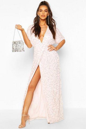 Blush Boutique Sequin Plunge Maxi Dress