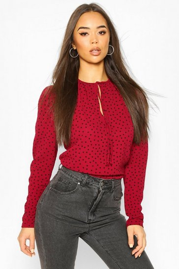 Berry Polka Dot Puff Sleeve Tie Neck Blouse