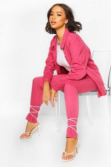 Pink Oversized Denim Shirt