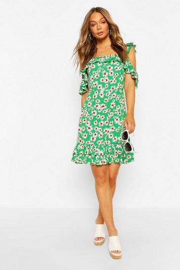 Green Daisy Print Ruffle Strap Mini Dress