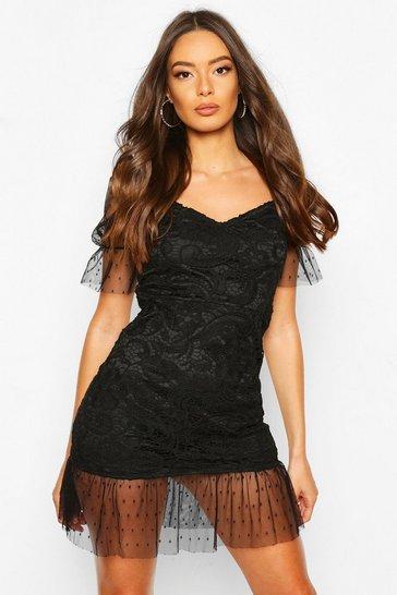 Black Lace Polka Dot Mesh Frill Hem Mini Dress