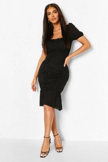 Black Lace Frill Hem Bodycon Midi Dress