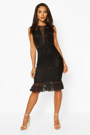 Black Lace Crochet Panel Frill Hem Midi Dress