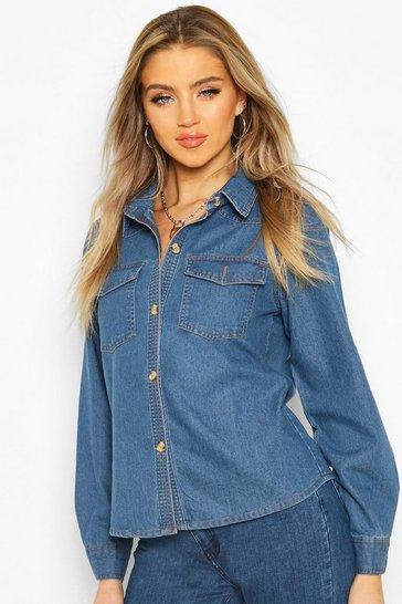 Mid blue Denim Western Shirt