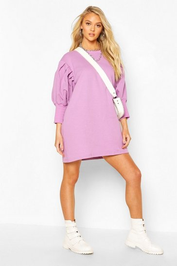 Lilac Extreme Puff Sleeve 3/4 Sleeve Sweatshirt Dress