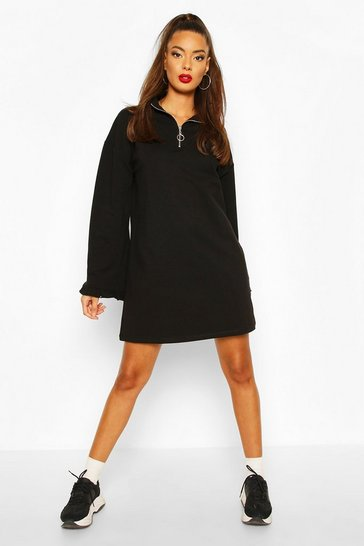Black Zip Ruffle Extreme Sleeve Sweatshirt Dress