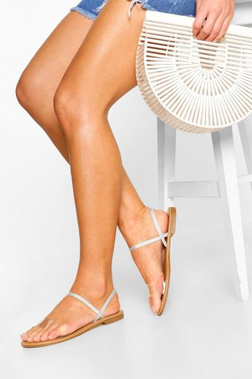 Tan Wide Fit Clear Strap Sandals