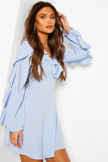 Pale blue Ruffle Sleeve Detail Skater Dress