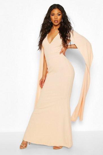 Blush Cape Sleeve Fishtail Maxi Dress
