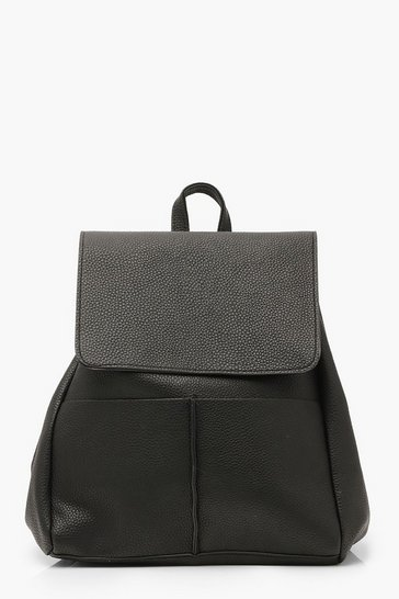 Black Textured PU Flap & Pocket Detail Rucksack