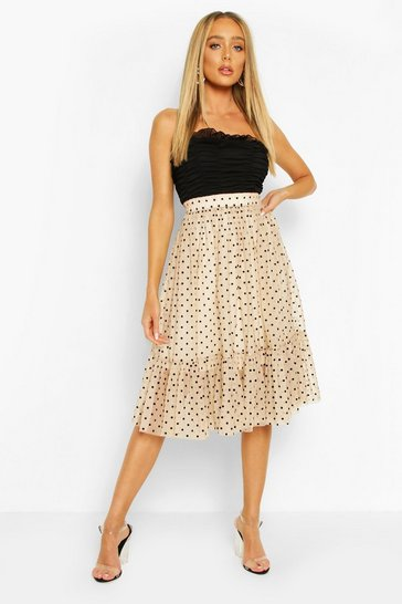 Nude Polka Dot Flocked Tulle Midi Skirt