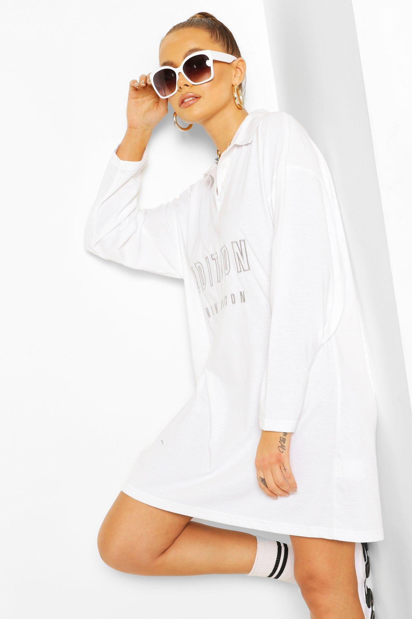 boohoo Womens Embroidered Collar Polo T-Shirt Dress - White - 8, White
