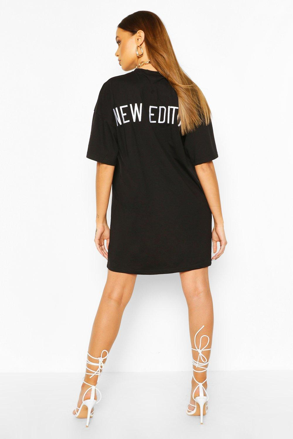 boohoo Womens Embroidered Back Slogan Oversized T-Shirt Dress - Black - 12, Black