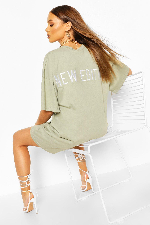 boohoo Womens Embroidered Back Slogan Oversized T-Shirt Dress - Green - 14, Green