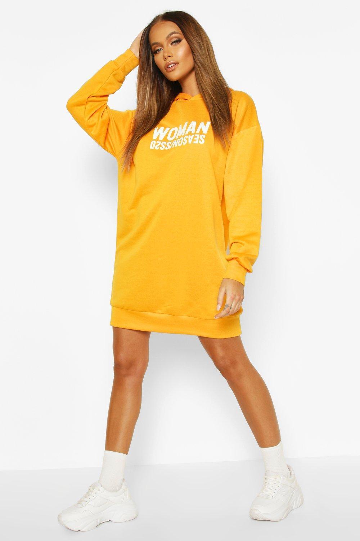 SALE Woman Oversized Slogan Hooded Sweat Dress