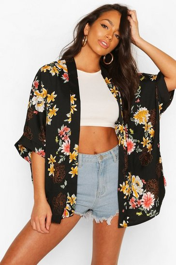 Black Large Oriental Kimono