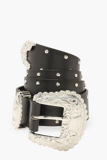 Black Studded Western Belt