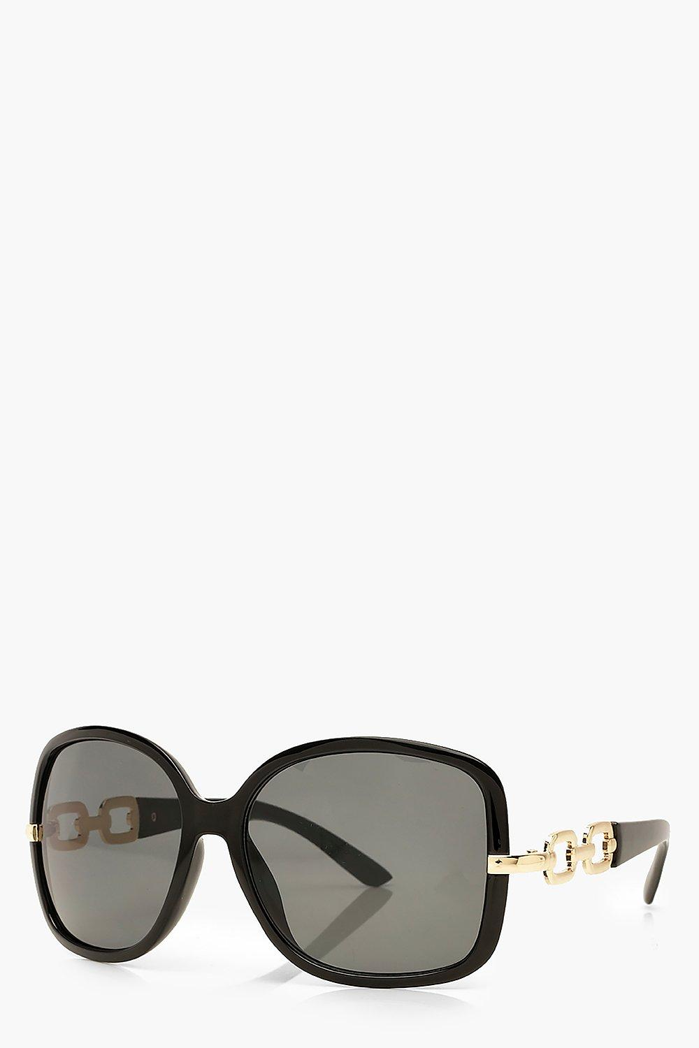 boohoo Womens Oversized Chain Detail Sunglasses - Black - One Size, Black