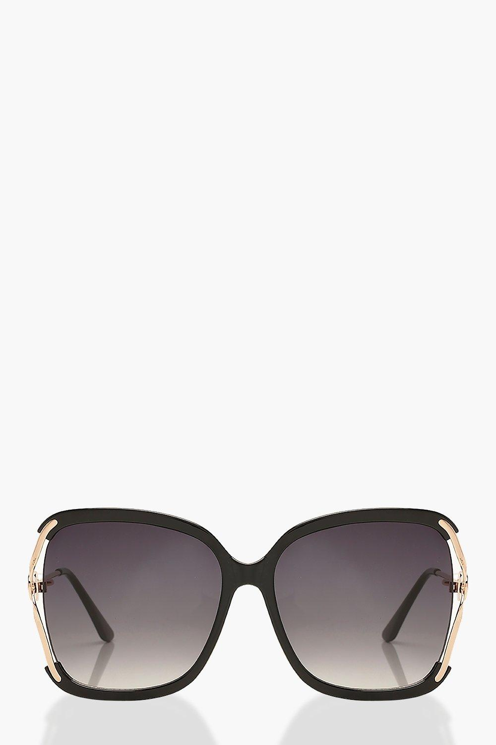 boohoo Womens Oversized Pearl Detail Sunglasses - Black - One Size, Black
