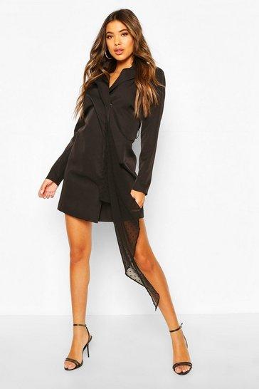Black Dobby Mesh Detail Blazer Dress