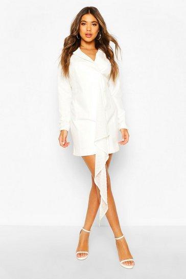 Ivory Dobby Mesh Detail Blazer Dress