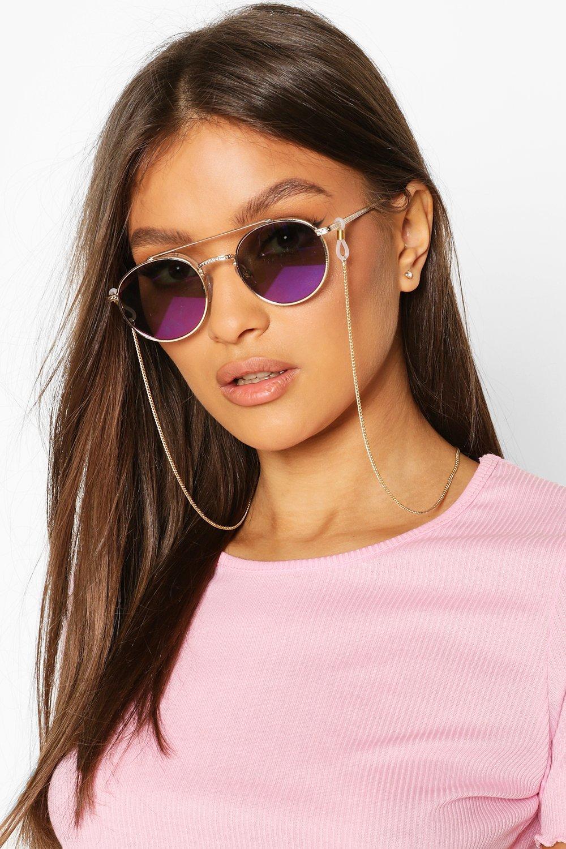 boohoo Womens Delicate Chain Link Sunglasses Chain - Metallics - One Size, Metallics