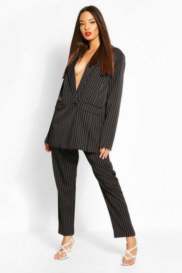 Black Paperbag Pinstripe Tapered Trouser