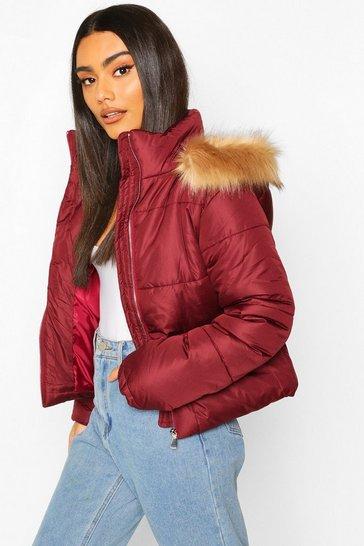 Burgundy Faux Fur Trim Puffer Jacket