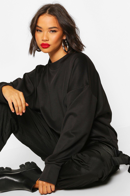 Womens Hochgeschlossener Oversized Pullover mit Pinhole - schwarz - S, Schwarz - Boohoo.com