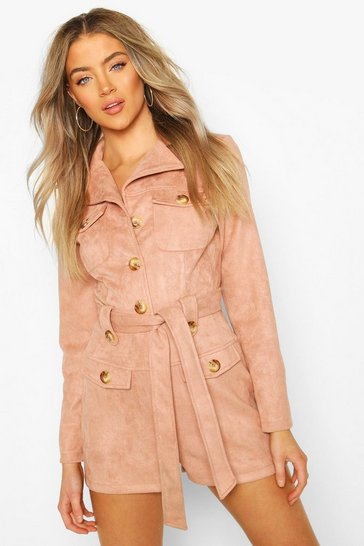 Rose Bonded Suede Utility Playsuit