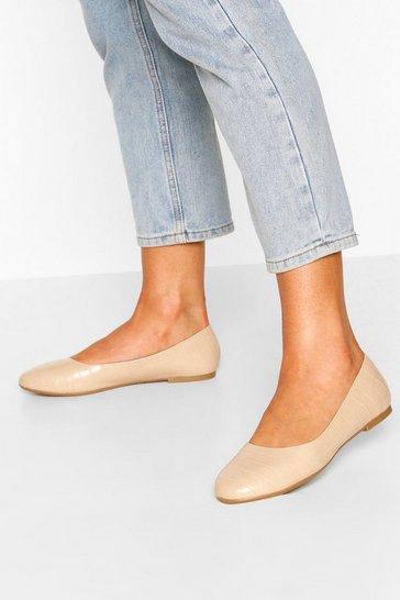 Cream Round Toe Croc Ballets