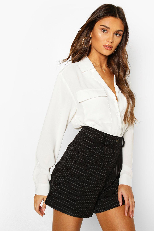boohoo Womens Oversized Shirt Bodysuit - White - 6, White