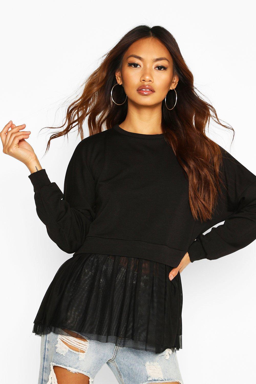 Womens Pullover aus Netzstoff mit Rüschen - schwarz - 40, Schwarz - Boohoo.com
