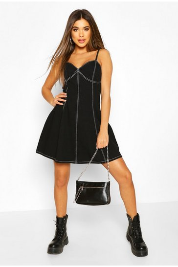 Black Contrast Stitch Denim Skater Dress