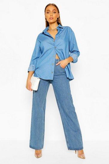 Mid blue Oversized Chambray Shirt