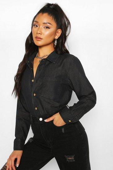 Black Slim Fit Pocket Chambray Shirt