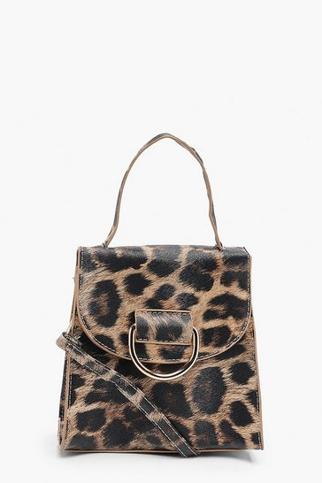 Brown Leopard D-Ring Cross Body Bag With Handle