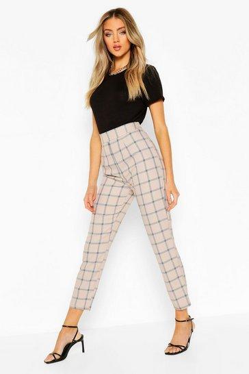 Camel Tonal Check Slim Fit Trousers