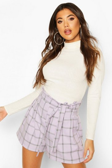 Lilac Tonal Check Belted Shorts
