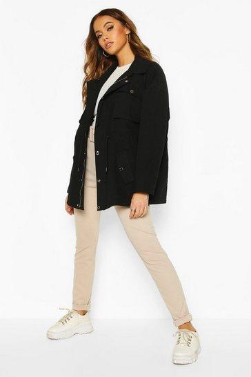 Black Utility Pocket Synch Waist Cotton Twill Jacket
