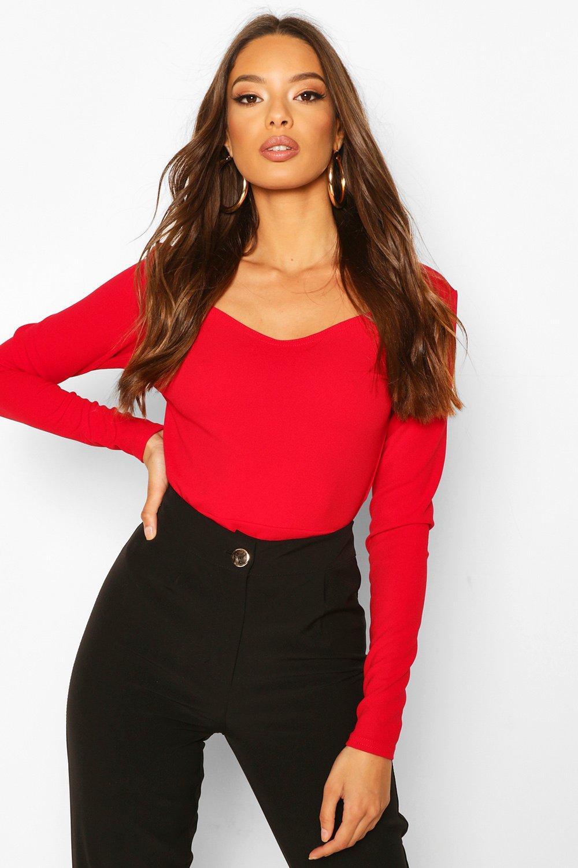 Womens Body Mit Herzausschnitt - Red - 40, Red - Boohoo.com