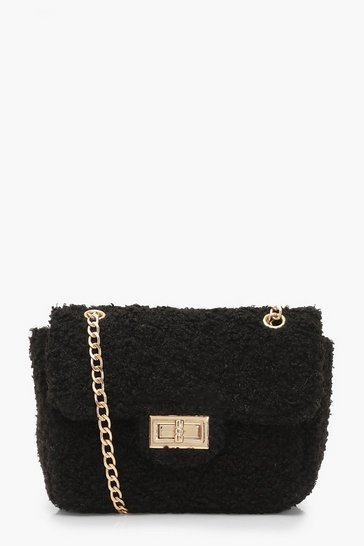Black Teddy Faux Fur Mini Cross Body Bag