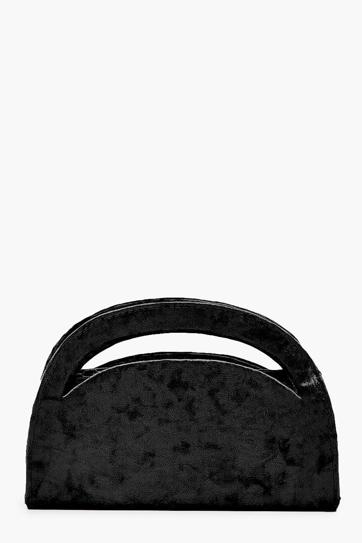 boohoo Womens Velvet Structured Handle Clutch Bag & Chain - Black - One Size, Black