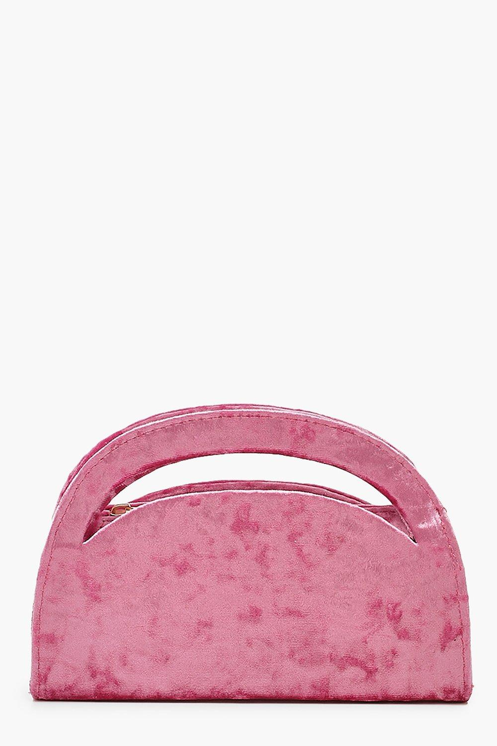 boohoo Womens Velvet Structured Handle Clutch Bag & Chain - Pink - One Size, Pink