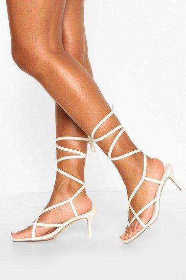 White Strappy Toe Post Low Stiletto Heels