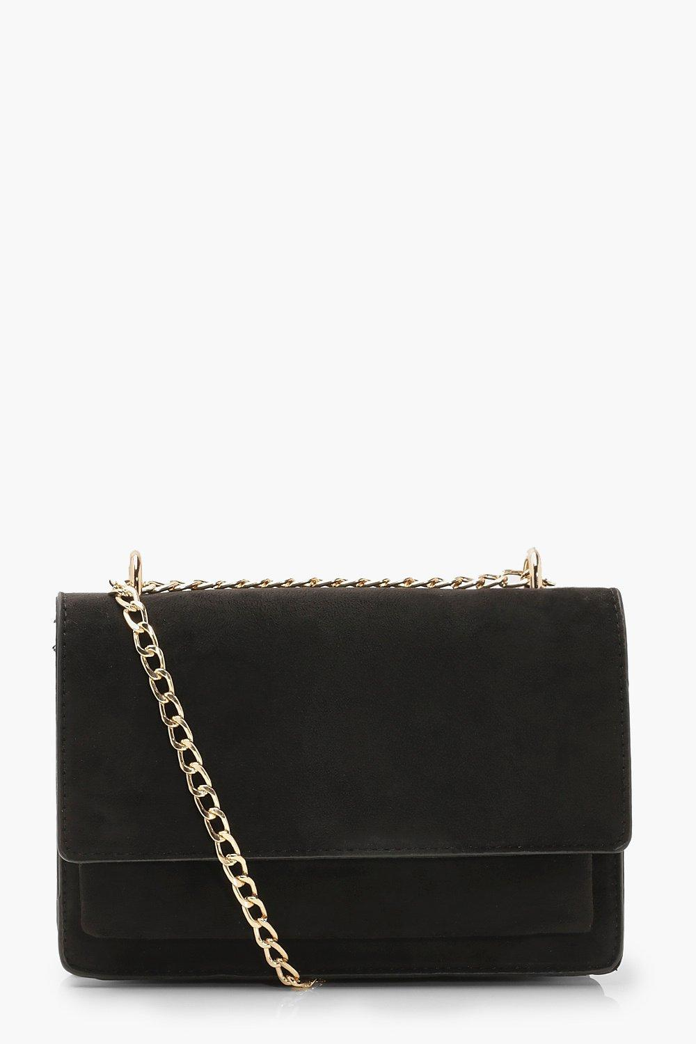boohoo Womens Suedette Structured Cross Body Bag & Chain - Black - One Size, Black