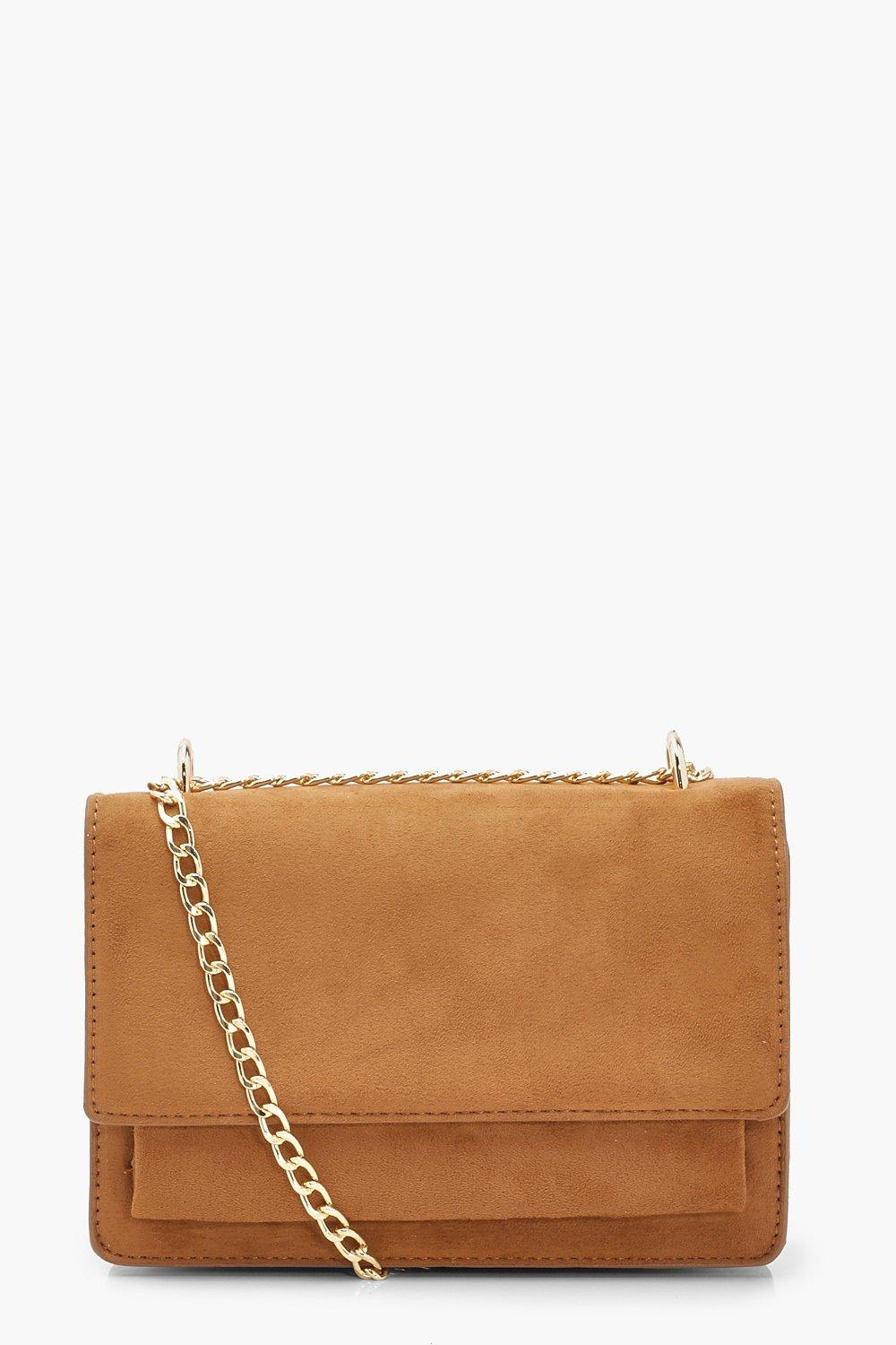 boohoo Womens Suedette Structured Cross Body Bag & Chain - Brown - One Size, Brown