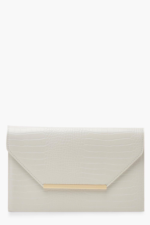 boohoo Womens Croc Clutch Bag With Bar - White - One Size, White